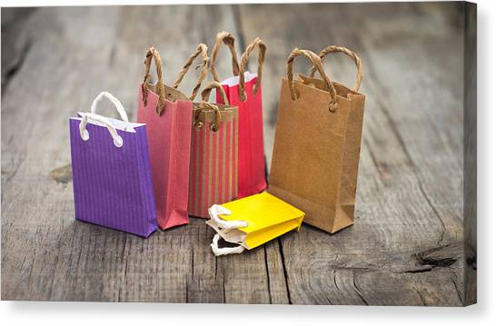 Shopping Bag Canvas Print - Miniature Shopping Bags by Aged Pixel