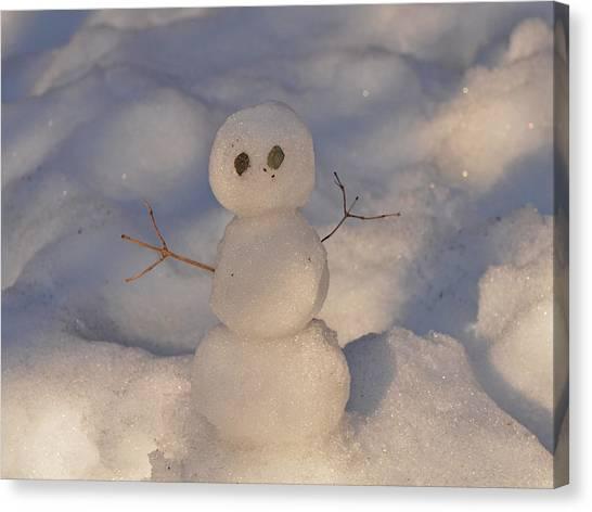 Miniature Snowman Landscape Canvas Print by Nancy Landry