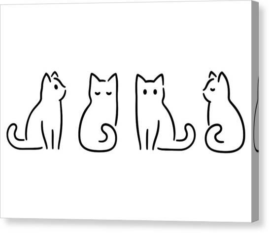 Minimal Cat Drawing Canvas Print by Sudowoodo