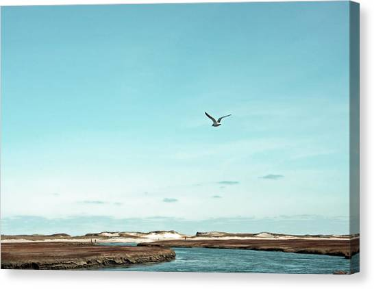 Minimalist Blue And Brown Seascape Canvas Print