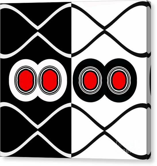 Minimalism Geometric Art Black White Red Abstract Print No.83. Canvas Print by Drinka Mercep