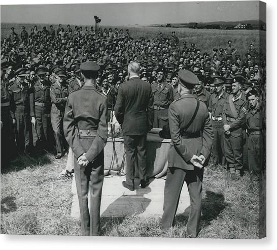 Minister Of Defence Inspects The Territorial�s. Addresses Canvas Print by Retro Images Archive