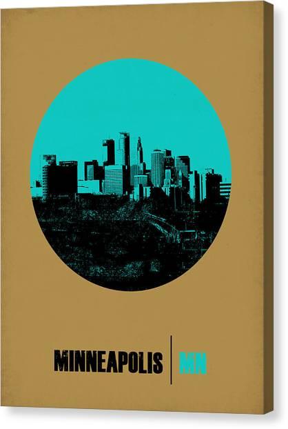 Minnesota Canvas Print - Minneapolis Circle Poster 1 by Naxart Studio