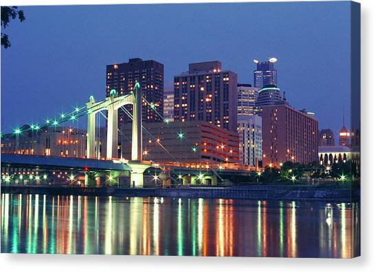 Minneapolis Skyline At Night Canvas Print