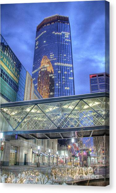 Minneapolis Skyline Photography Nicollet Mall Winter Evening Canvas Print
