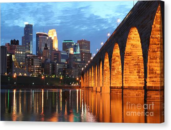 Minneapolis Skyline Photography Stone Arch Bridge Canvas Print