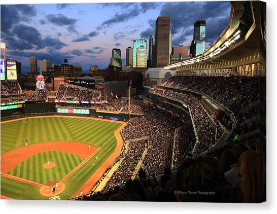 Minnesota Twins Canvas Print - Minnesota Twins Minneapolis Skyline Target Field by Wayne Moran