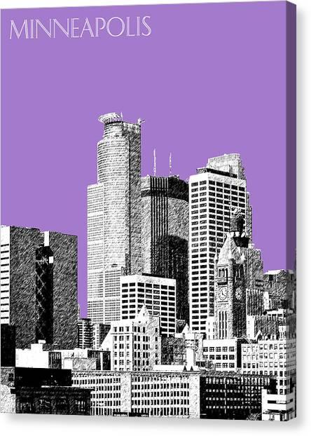 Pen Canvas Print - Minneapolis Skyline - Violet  by DB Artist