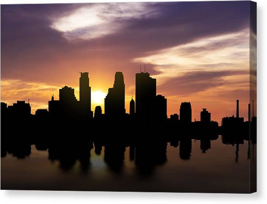 Mississippi River Canvas Print - Minneapolis Sunset Skyline  by Aged Pixel