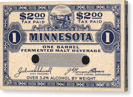 Taxes Canvas Print - Minnesota Beer Tax Stamp by Jon Neidert