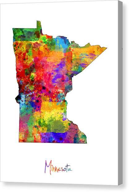 Minnesota Canvas Print - Minnesota Map by Michael Tompsett