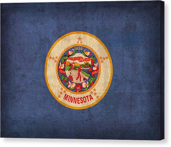Minnesota Twins Canvas Print - Minnesota State Flag Art On Worn Canvas by Design Turnpike