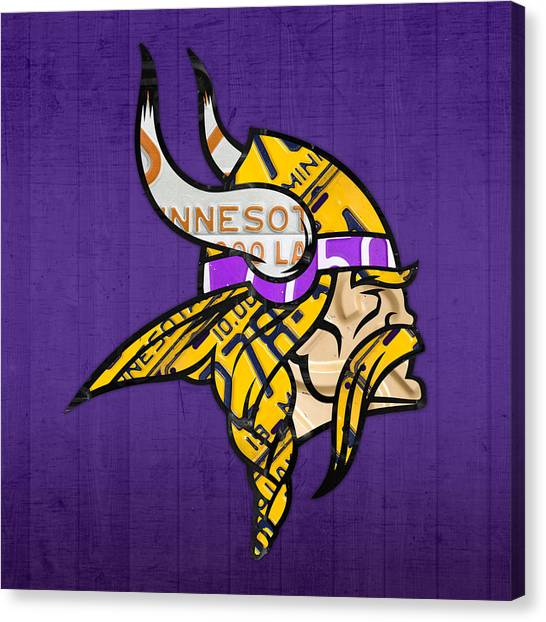 Minnesota Vikings Canvas Print - Minnesota Vikings Football Team Retro Logo Minnesota License Plate Art by Design Turnpike
