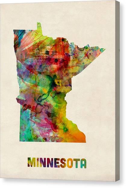 Minnesota Canvas Print - Minnesota Watercolor Map by Michael Tompsett