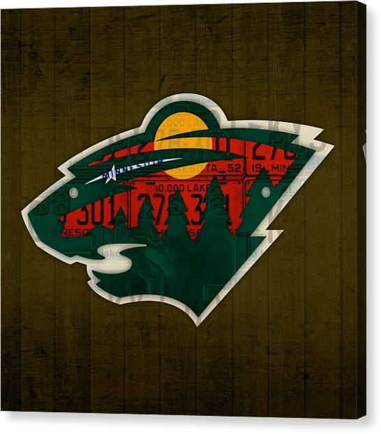 Minnesota Wild Canvas Print - Minnesota Wild Retro Hockey Team Logo Recycled Land Of 10000 Lakes License Plate Art by Design Turnpike