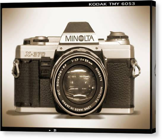 Vintage Camera Canvas Print - Minolta X-370 by Mike McGlothlen