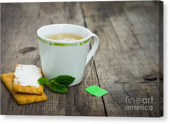 Tea Leaves Canvas Print - Mint Tea With Cookie by Aged Pixel