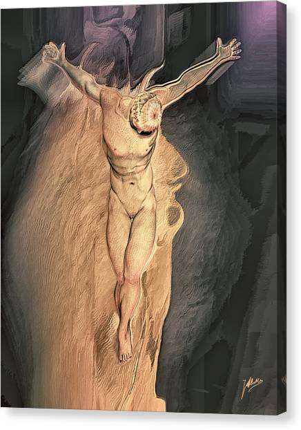 Atheism Canvas Print - Hermaphrodite Crucified by Quim Abella