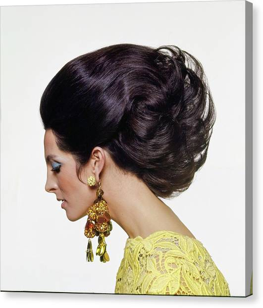 Suga Canvas Print - Mirella Petteni Wearing Robert Originals Earrings by Bert Stern