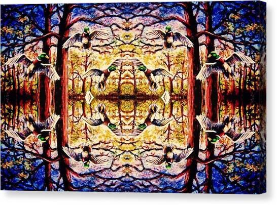 Mirror Ducks Canvas Print by Sebastian Pierre
