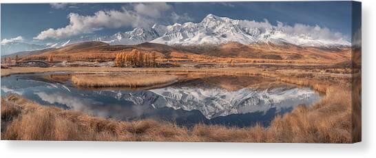 Mountain Ranges Canvas Print - Mirror For Mountains 3 by Valeriy Shcherbina