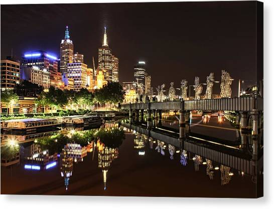 Pontoon Canvas Print - Mirror Image by Andrew Paranavitana