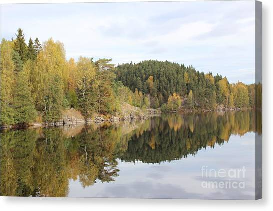 Mirror Image Of The Fall Season Canvas Print