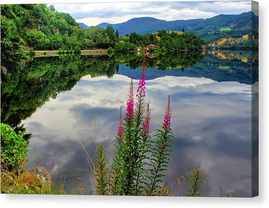 Mirror Lake Bjorheimsvatnet In Rogaland  Canvas Print