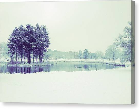 University Of Connecticut Canvas Print - Mirror Lake by Elina Cate