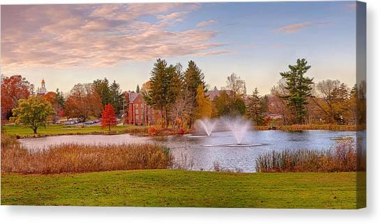 University Of Connecticut Canvas Print - Mirror Lake Uconn Sunset by Steve Pfaffle