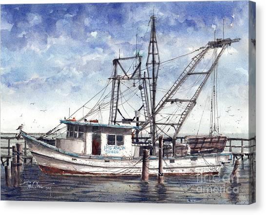 Shrimp Boats Canvas Print - Miss Ashlynn by Tim Oliver