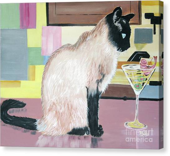 Miss Kitty And Her Treat Canvas Print