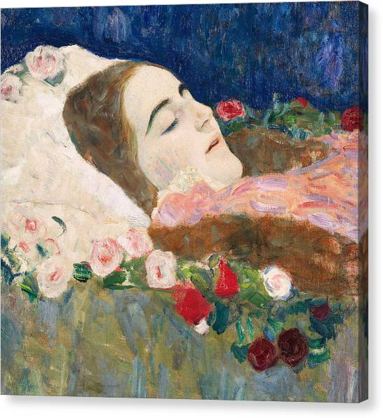 Unconscious Canvas Print - Miss Ria Munk On Her Deathbed by Gustav Klimt