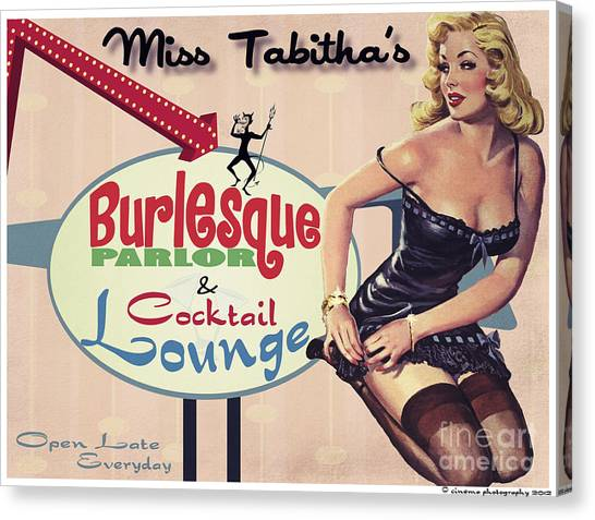 Pinup Canvas Print - Miss Tabithas Burlesque Parlor by Cinema Photography