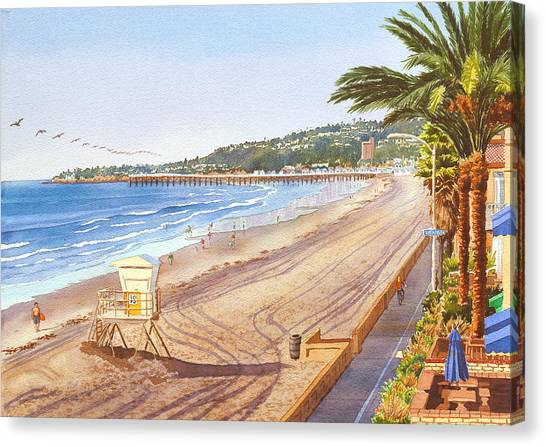 Scene Canvas Print - Mission Beach San Diego by Mary Helmreich
