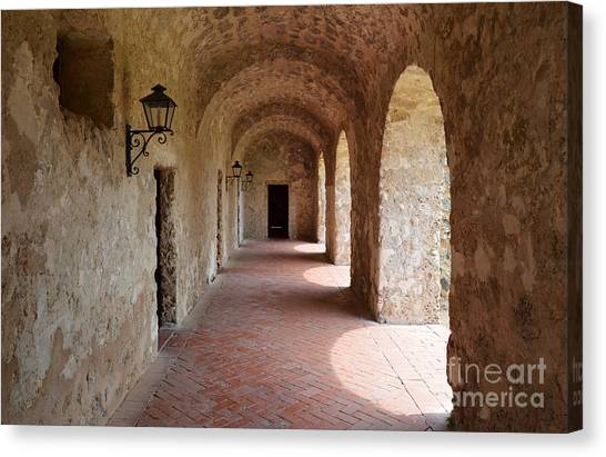 Mission Concepcion Promenade Walkway In San Antonio Missions National Historical Park Texas Canvas Print
