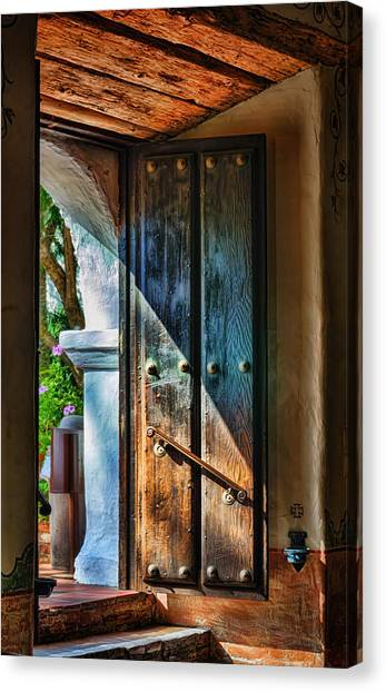 Mission Canvas Print - Mission Door by Joan Carroll