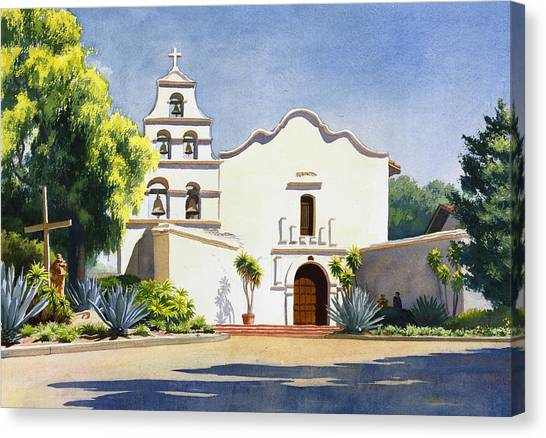 Mission Canvas Print - Mission San Diego De Alcala by Mary Helmreich