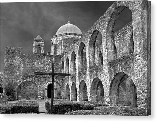 Mission San Jose Arches Bw Canvas Print