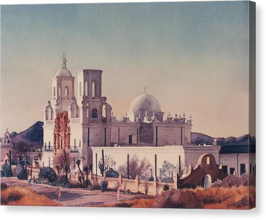 Mission Canvas Print - Mission San Xavier Del Bac Tucson by Mary Helmreich