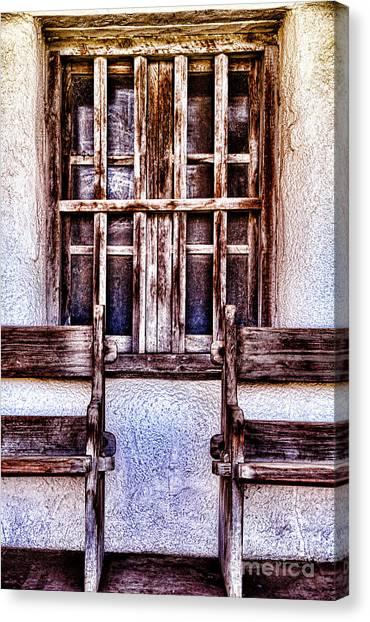 Mission Soledad Window Seating By Diana Sainz Canvas Print