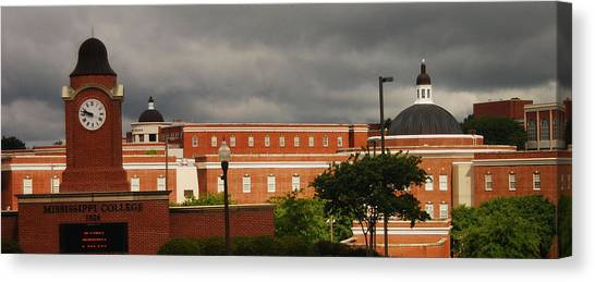 Mississippi College Clock Canvas Print by Donnell Carr