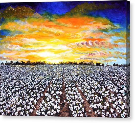 Deltas Canvas Print - Mississippi Delta Cotton Field Sunset by Karl Wagner