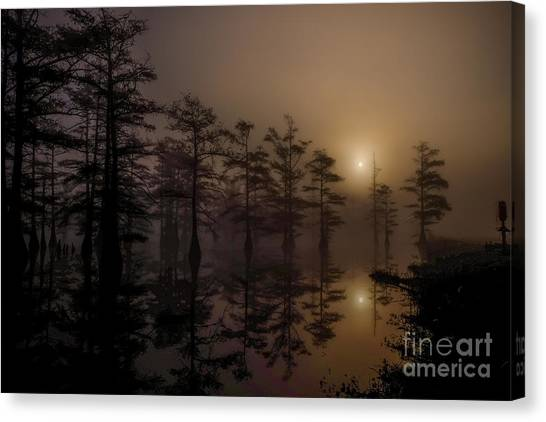 Canvas Print featuring the photograph Mississippi Foggy Delta Swamp At Sunrise by T Lowry Wilson