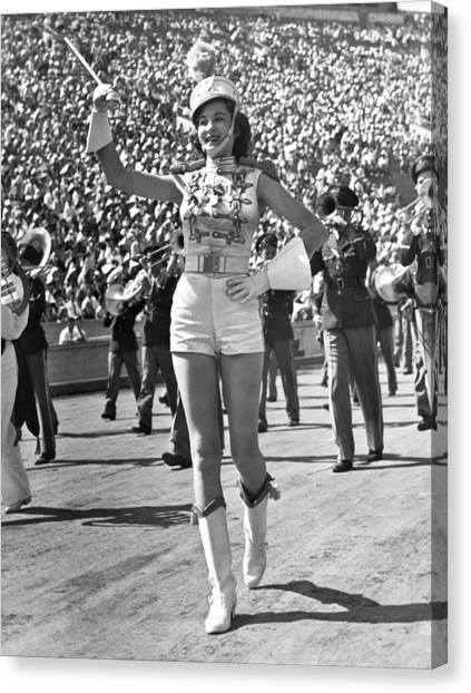 Marching Band Canvas Print - Mississippi Majorette Struts by Underwood Archives