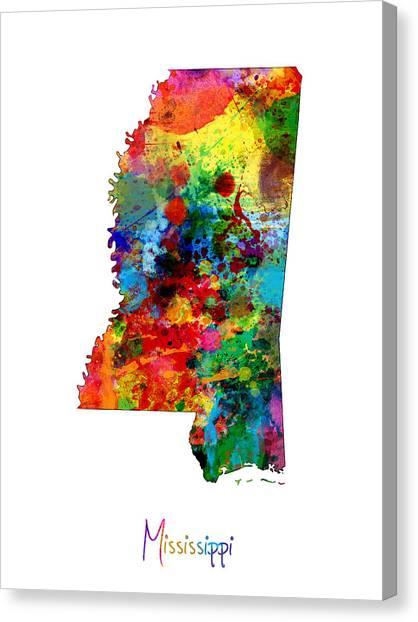 Mississippi Canvas Print - Mississippi Map by Michael Tompsett