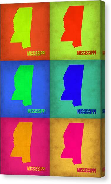 Mississippi Canvas Print - Mississippi Pop Art Map 1 by Naxart Studio