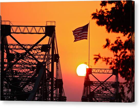 Mississippi River Bridge Sunset Canvas Print