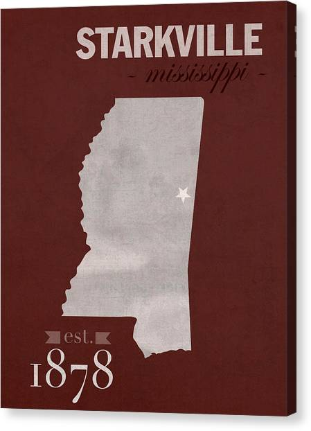 Sec Canvas Print - Mississippi State University Bulldogs Starkville College Town State Map Poster Series No 068 by Design Turnpike