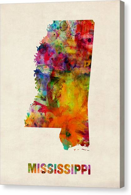 Mississippi Canvas Print - Mississippi Watercolor Map by Michael Tompsett